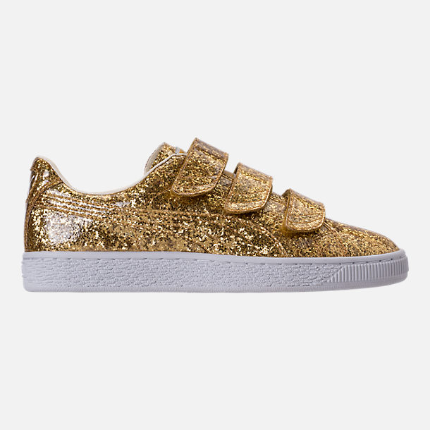 Right view of Women's Puma Basket Strap Glitter Casual Shoes in Gold/Gold