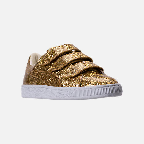 Three Quarter view of Women's Puma Basket Strap Glitter Casual Shoes in Gold/Gold