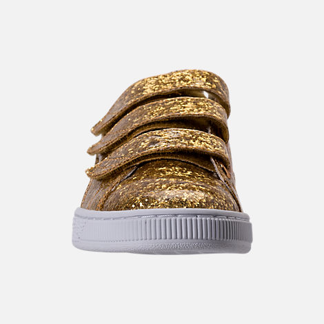 Front view of Women's Puma Basket Strap Glitter Casual Shoes in Gold/Gold