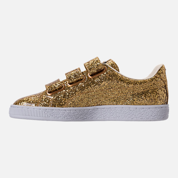 Left view of Women's Puma Basket Strap Glitter Casual Shoes in Gold/Gold
