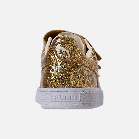 Back view of Women's Puma Basket Strap Glitter Casual Shoes in Gold/Gold
