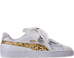 Women's Puma Basket Heart Glitter Casual Shoes by Puma