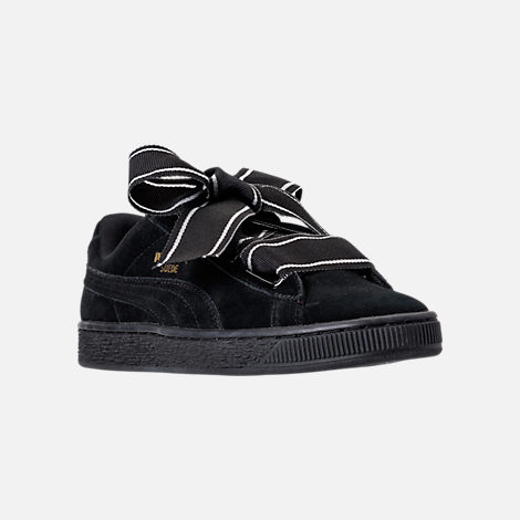Three Quarter view of Women's Puma Suede Heart Satin Casual Shoes in Black/Black