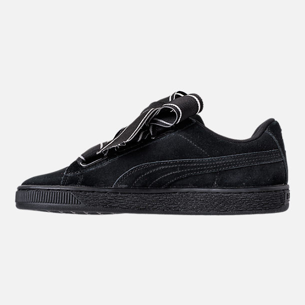 Left view of Women's Puma Suede Heart Satin Casual Shoes in Black/Black
