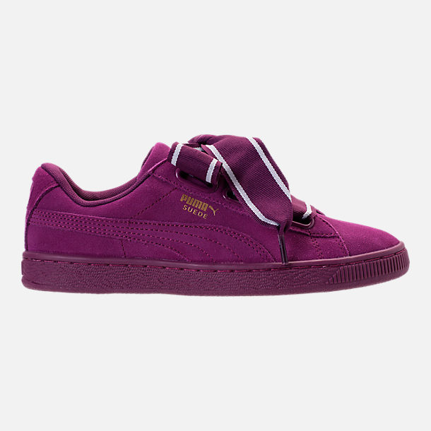 Right view of Women's Puma Suede Heart Satin II Casual Shoes in Purple
