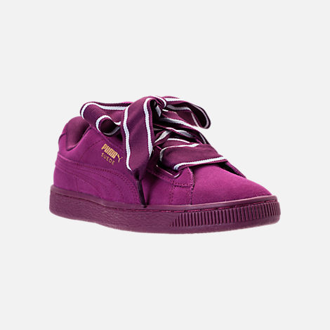Three Quarter view of Women's Puma Suede Heart Satin II Casual Shoes in Purple