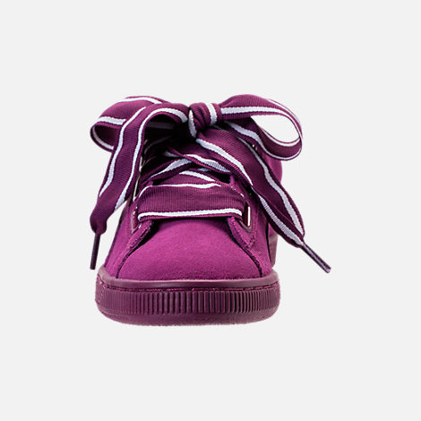 Front view of Women's Puma Suede Heart Satin II Casual Shoes in Purple