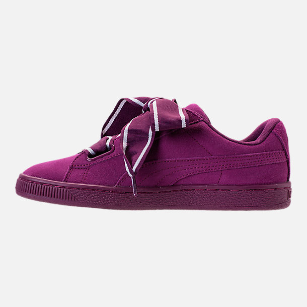 Left view of Women's Puma Suede Heart Satin II Casual Shoes in Purple
