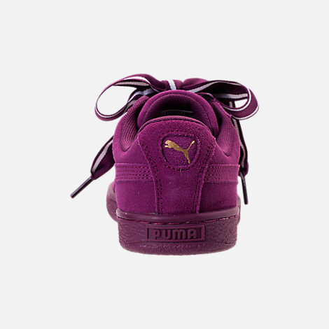 Back view of Women's Puma Suede Heart Satin II Casual Shoes in Purple