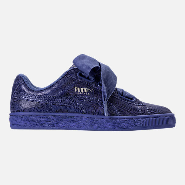 Right view of Women's Puma Basket Heart NS Casual Shoes in Baja Blue/Blue