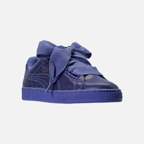 Three Quarter view of Women's Puma Basket Heart NS Casual Shoes in Baja Blue/Blue
