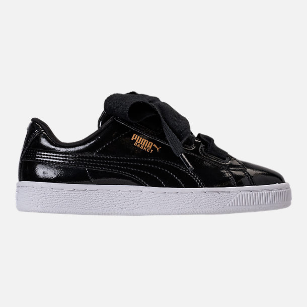 Right view of Girls' Grade School Puma Basket Heart Glam Casual Shoes in Black/Black
