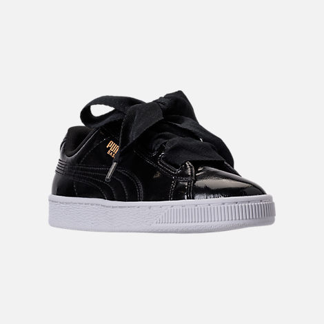 Three Quarter view of Girls' Grade School Puma Basket Heart Glam Casual Shoes in Black/Black