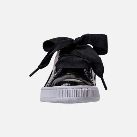 Front view of Girls' Grade School Puma Basket Heart Glam Casual Shoes in Black/Black
