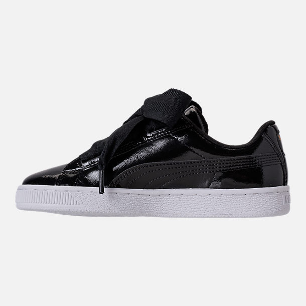 Left view of Girls' Grade School Puma Basket Heart Glam Casual Shoes in Black/Black