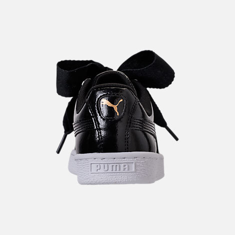 Back view of Girls' Grade School Puma Basket Heart Glam Casual Shoes in Black/Black