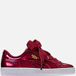Girls' Grade School Puma Basket Heart Glam Casual Shoes