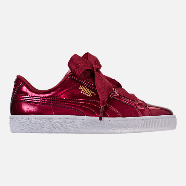 Right view of Girls' Grade School Puma Basket Heart Glam Casual Shoes in Tibetan Red/Tibetan Red
