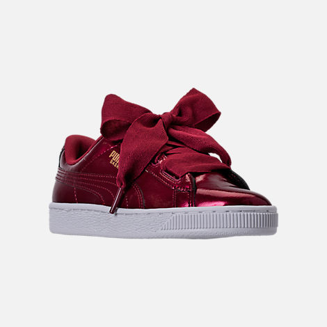 Three Quarter view of Girls' Grade School Puma Basket Heart Glam Casual Shoes in Tibetan Red/Tibetan Red