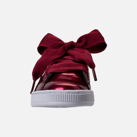 Front view of Girls' Grade School Puma Basket Heart Glam Casual Shoes in Tibetan Red/Tibetan Red