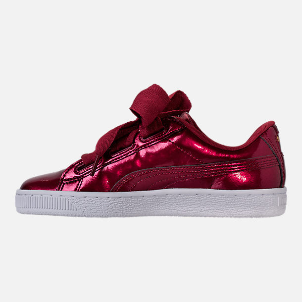 Left view of Girls' Grade School Puma Basket Heart Glam Casual Shoes in Tibetan Red/Tibetan Red