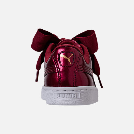 Back view of Girls' Grade School Puma Basket Heart Glam Casual Shoes in Tibetan Red/Tibetan Red