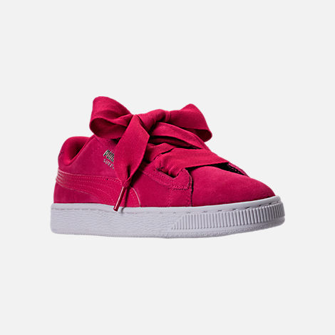 Three Quarter view of Girls' Grade School Puma Suede SNK JR Casual Shoes in Love Potion/Love Potion