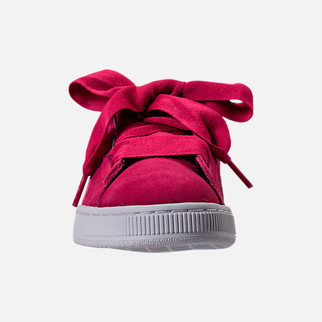 Front view of Girls' Grade School Puma Suede SNK JR Casual Shoes in Love Potion/Love Potion