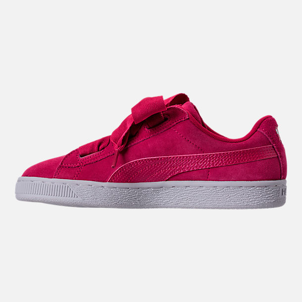 Left view of Girls' Grade School Puma Suede SNK JR Casual Shoes in Love Potion/Love Potion
