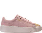 Girls' Grade School Puma Suede Platform Glam Casual Shoes