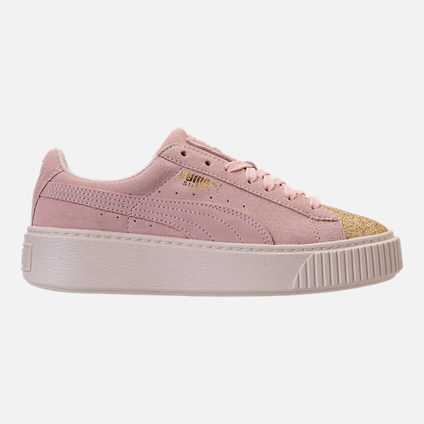 Right view of Girls' Grade School Puma Suede Platform Glam Casual Shoes in Pink Dogwood/Gold/White