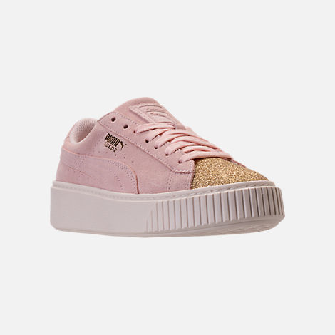 Three Quarter view of Girls' Grade School Puma Suede Platform Glam Casual Shoes in Pink Dogwood/Gold/White