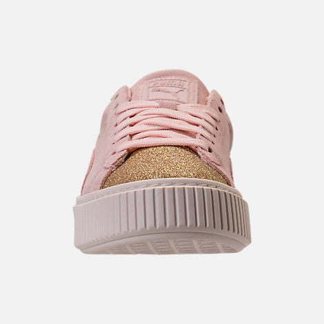 Front view of Girls' Grade School Puma Suede Platform Glam Casual Shoes in Pink Dogwood/Gold/White
