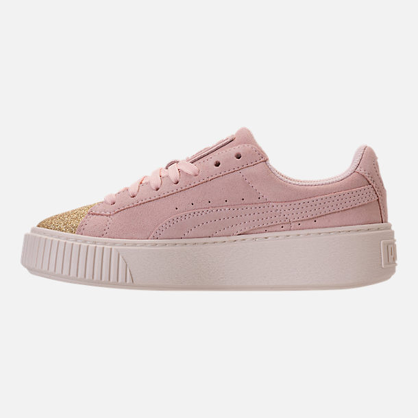 Left view of Girls' Grade School Puma Suede Platform Glam Casual Shoes in Pink Dogwood/Gold/White