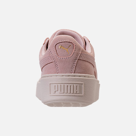 Back view of Girls' Grade School Puma Suede Platform Glam Casual Shoes in Pink Dogwood/Gold/White