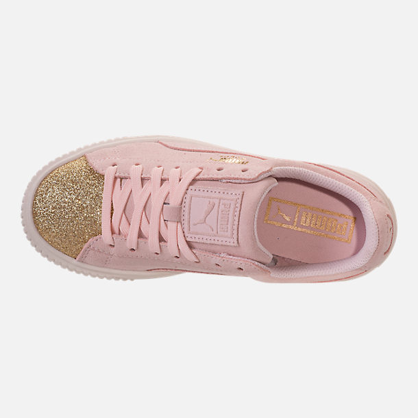 Top view of Girls' Grade School Puma Suede Platform Glam Casual Shoes in Pink Dogwood/Gold/White