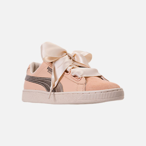 Three Quarter view of Women's Puma Basket Heart Up Casual Shoes in Natural Vachetta/Birch