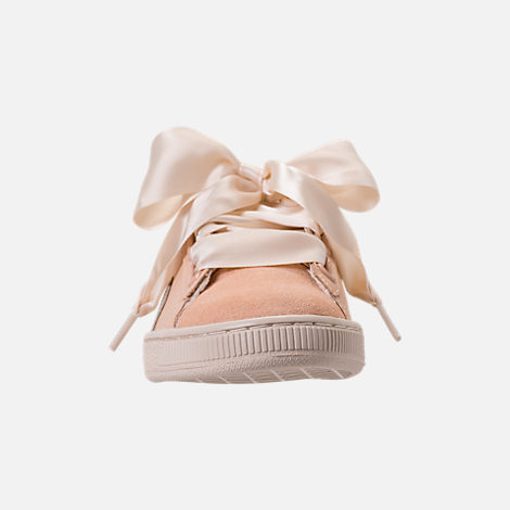 Front view of Women's Puma Basket Heart Up Casual Shoes in Natural Vachetta/Birch