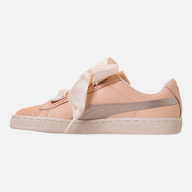 Left view of Women's Puma Basket Heart Up Casual Shoes in Natural Vachetta/Birch