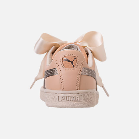 Back view of Women's Puma Basket Heart Up Casual Shoes in Natural Vachetta/Birch