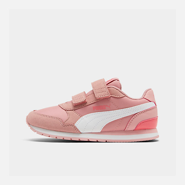 Right view of Girls' Little Kids' Puma ST Runner V2 Leather Casual Shoes in Bridal Rose/White/Calypso Coral