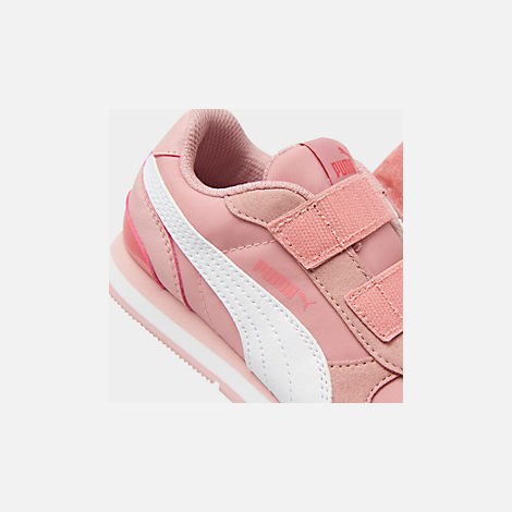 Front view of Girls' Little Kids' Puma ST Runner V2 Leather Casual Shoes in Bridal Rose/White/Calypso Coral