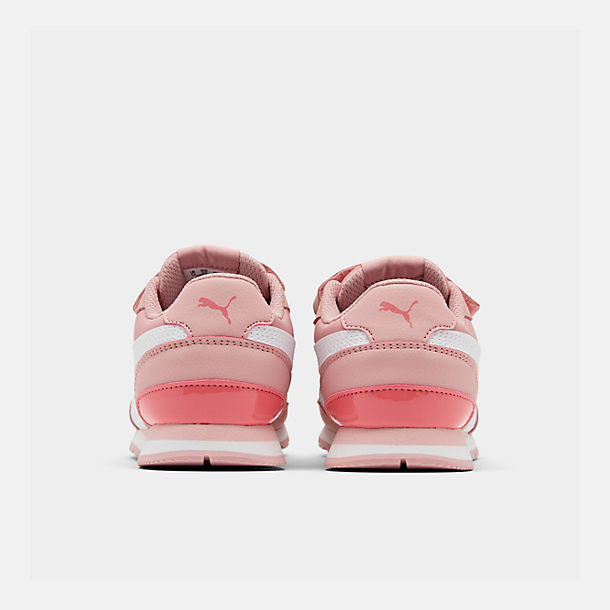 Left view of Girls' Little Kids' Puma ST Runner V2 Leather Casual Shoes in Bridal Rose/White/Calypso Coral