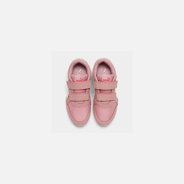 Back view of Girls' Little Kids' Puma ST Runner V2 Leather Casual Shoes in Bridal Rose/White/Calypso Coral