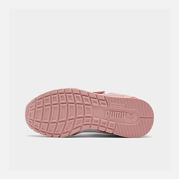 Bottom view of Girls' Little Kids' Puma ST Runner V2 Leather Casual Shoes in Bridal Rose/White/Calypso Coral