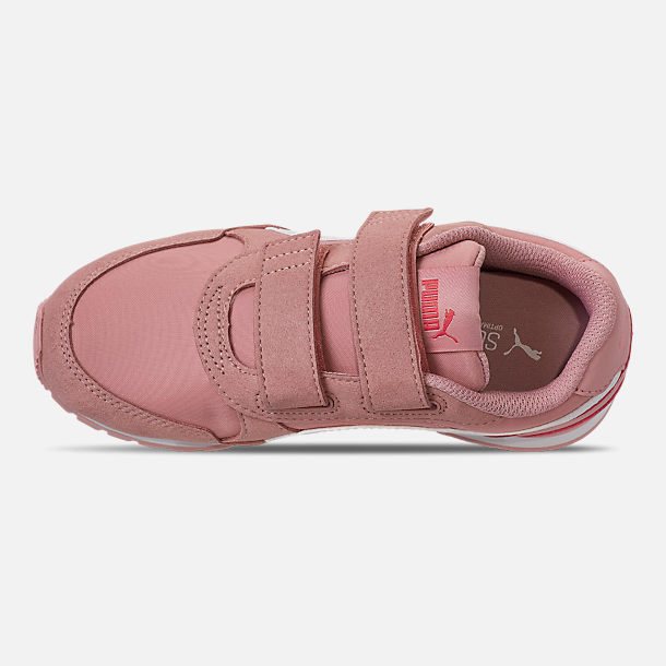 Top view of Girls' Little Kids' Puma ST Runner V2 Leather Casual Shoes in Bridal Rose/White/Calypso Coral
