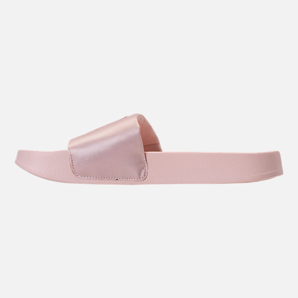 Left view of Women's Puma Leadcat Satin Slide Sandals in Pearl/Pearl