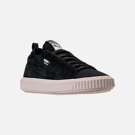 Three Quarter view of Men's Puma Breaker Knit Sunfaded Casual Shoes in Puma Black/Whisper White