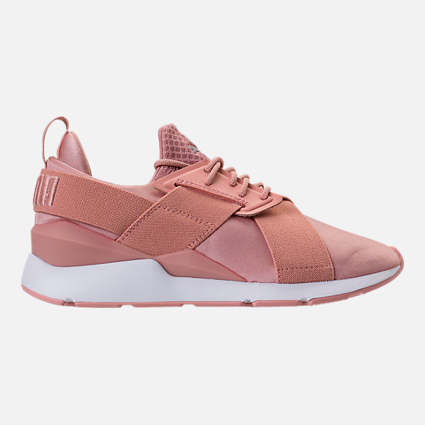 Right view of Women's Puma Muse Satin EP Casual Shoes in Peach Beige/Puma White