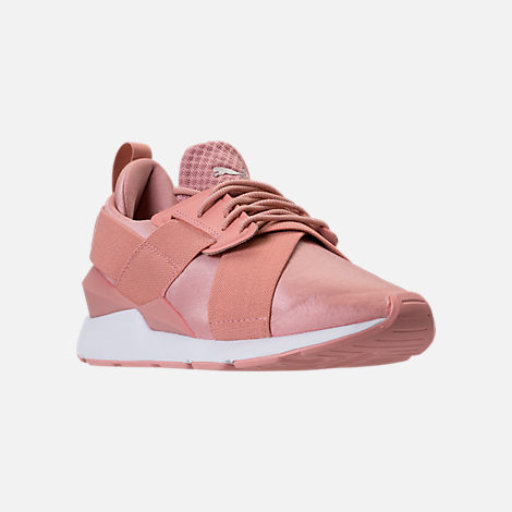 Three Quarter view of Women's Puma Muse Satin EP Casual Shoes in Peach Beige/Puma White